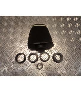 filtre air cornet mousse big pyramide replay noir + 5 adaptateurs pour scooter et moto