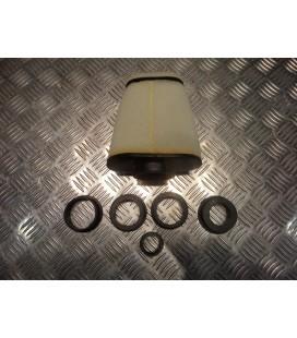 filtre air cornet mousse big pyramide replay blanc r + 5 adaptateurs pour scooter et moto