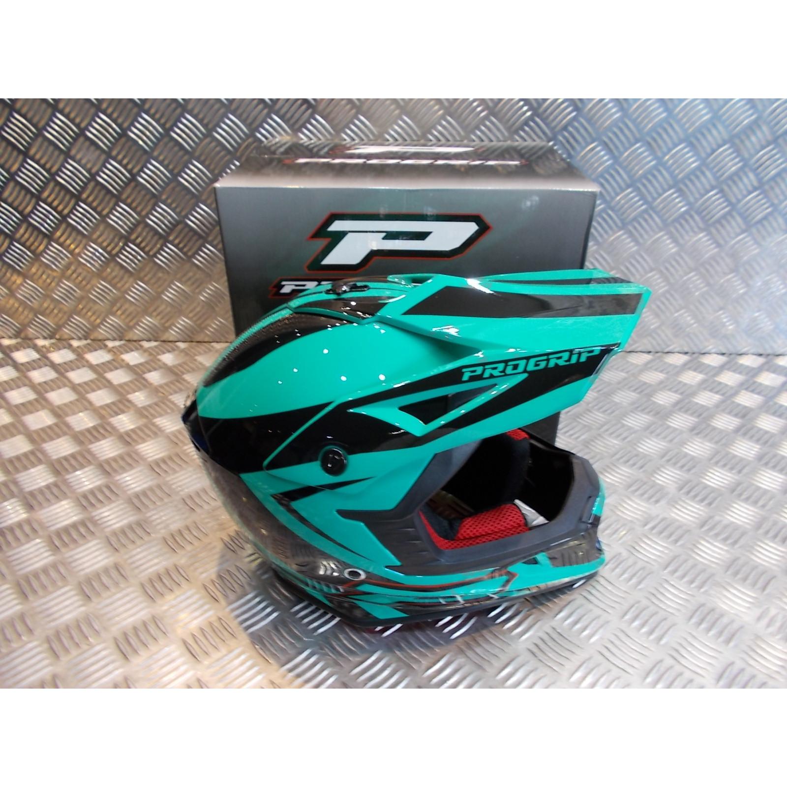 casque progrip 3095 pour moto cross mx enduro taille l 59 - 60 aqua