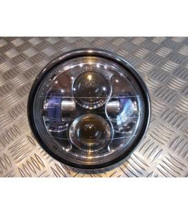 phare metal chrome universel double full led moto bobber custom chopper cafe racer scrambler neo classic retro