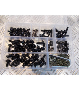 137 vis boulon ecrou clips noir cache carenage carrosserie moto scooter fixation universel plastique poly