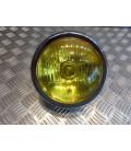phare metal chrome universel verre jaune moto bobber custom chopper cafe racer scrambler neo classic retro 12v - 35w