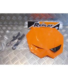 tete de fourche plaque phare porte numeros orange moto mecaboite 50 replay