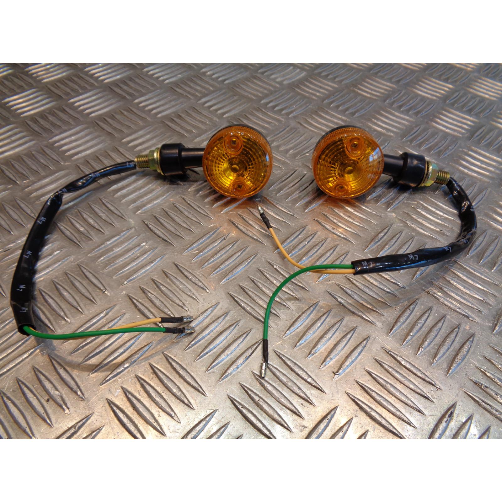 2 x clignotant noir verre orange ampoule 12v - 5w moto scooter quad