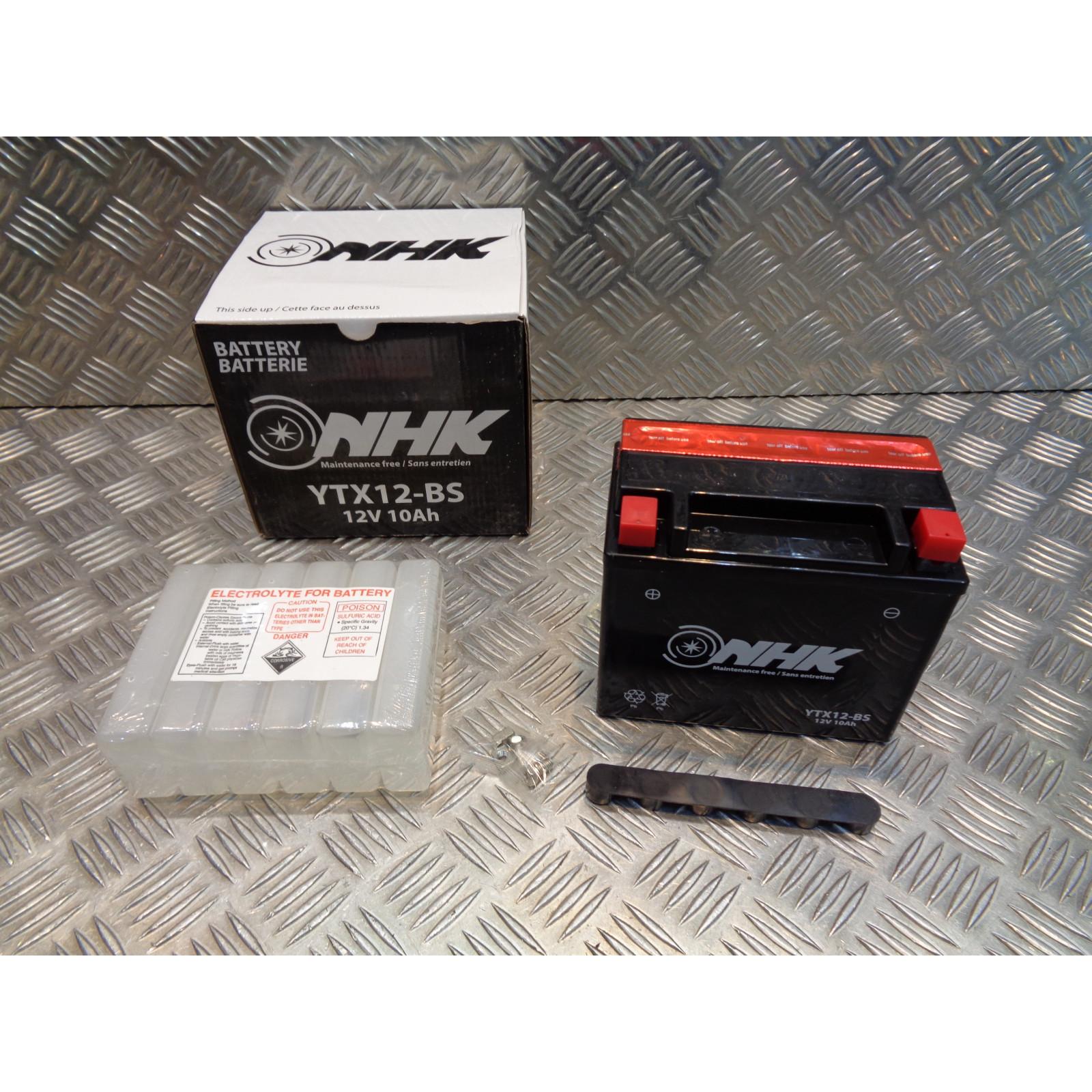 batterie 12v - 10Ah nhk ytx12-bs (Lg151xL87xH131) livree avec pack acide moto scooter quad ...