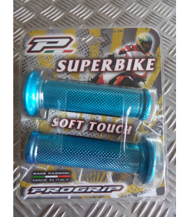 paire de poignee revetement caoutchouc guidon 22 mm progrip 717 bleu aluminium moto scooter quad ...