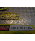 chaine transmission jaune ybn 420 - s/ye - 136 l maillons moto cyclo mobylette ...