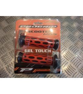paire de poignée revêtement caoutchouc guidon 22 mm progrip 768 rouge et noir moto scooter quad