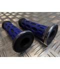 paire de poignée revêtement caoutchouc guidon 22 mm progrip 768 bleu noir et chrome moto scooter quad